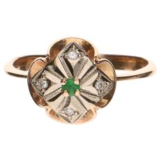 14 kt bicolour gold ring with 4 brilliant cut diamonds, in total 0.02 ct and 1 green stone
