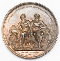 Belgium, Antwerp - Medal 1848 'Celebration of the Anniversary of the junction of the river Scheldt and the river Rhine' - bronze