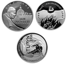 Poland - 10 Zlotych 2005/2006 'John Paul II, Solidarity Trade Union and 40th Anniversary of March 1968' (3 coins) - silver