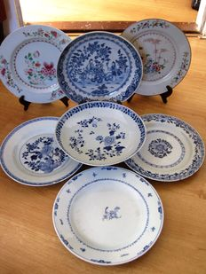 Seven porcelain plates, China, eighteenth century
