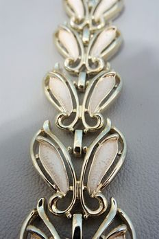 Signed SARAH COVENTRY - Linked Leaf Bracelet with creamy white enamel