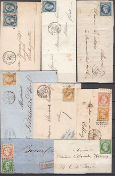 France 1854/1856 – Napoleon III 5c , 10c , 25c , 40c, set with 8 letters with different cancellations and complementary postages.