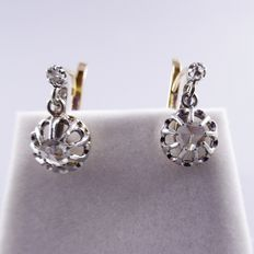 Gold earrings with four rose cut diamonds, France, length 1.5 cm