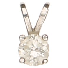 14 kt white gold solitaire pendant with a brilliant cut diamond of 0.20 ct