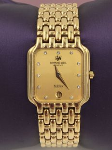 "Raymond Weil ""Fidelio"" 18kt gold electro-plated ladies' watch - 1990 - from 1€"