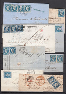 France, 1854/1860 – Napoleon III 20c blue, set with 16 letters with different cancellations, multiple postages, line perforated, some external postage to Florence, London, Brussels