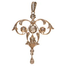 Yellow gold pendant set with 24 rose cut diamonds, 1.05 ct in total