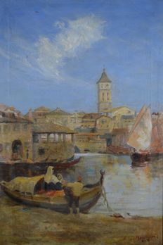 Unknown. (20th century) - A Venetian scene with buildings, figures and fishing boat.