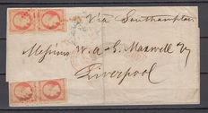 France 1854 – Napoleon III – 40 c – Orange (4), Havre maritime office. Cancellations: Losange petits chiffres, red, 1495