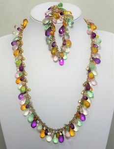 Signed JOAN RIVERS - Demi parure - Gold tone chain with tens of colorfull dangling faceted beads