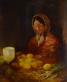 After William Shayer. (1788-1879) - The fruit and vegetable seller.