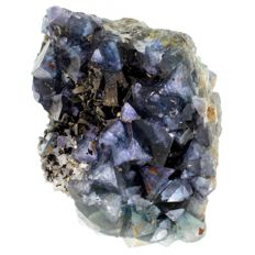 Multi-colored dark deep blue/purple to lighter teal blue zone Fluorite cubes  -  9,5 x 7 x 7,5 cm - 515 gm