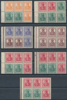 German Empire - Selection of sheetlets from stamp booklets