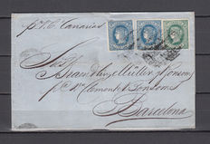 Cuba 1866 – La Habana to Barcelona 10 cents, blue (2), 20 cents, green. Rare postage combination to reach double freight charge.
