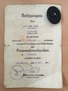 3rd Reich Badge of Honour: Black Purple Heart for the Army and Corresponding Award Certificate, 1941