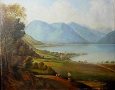 Unknown artist - View over a mountain lake with figures
