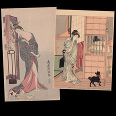 "Two Japanese Woodblock Prints ""Beauty with Cat"" (1760s) by Kiyomitsu and ""Beauty with Dog"" (1780s) by Kiyonaga  - Japan - 1920s"