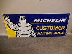 Original Michelin Customer Waiting Area Aluminium Garage Sign Decent Size 63.5 cm x 25.5 cm