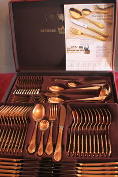 "Fine SBS Solingen Cutlery Set with Case, 70 pieces - ""GLORIA ROYAL"" model, No. 2000, 23/24 hard gold plated, 1000 fine gold"