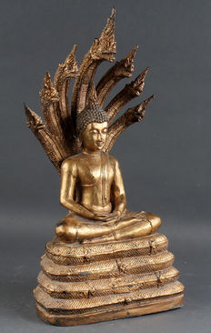 Bronze Buddha Dhiana Mudra with gold-plating Thailand 2nd Half of the 20th  century.