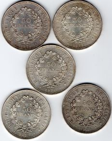 France – 50 Francs, 1974/1977 (Lot of 5 coins) – Silver