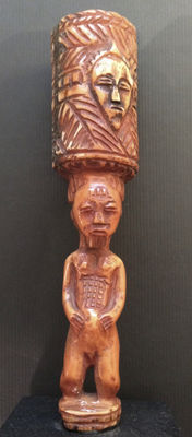 African Tribal BAOULÉ Ivory Medicine container. Democratic Republic Congo.