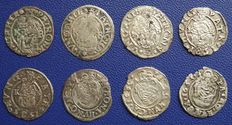 RDR - Hungary Denar , lot of 8 coins, 1546-1633 KB - silver
