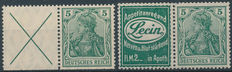 German Empire 1910/1911 - Combinations from stamp booklets - Michel W 1.1 + W 2.4