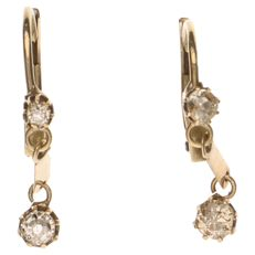 Yellow gold dangle earrings with 4 diamonds, 0.28 ct in total