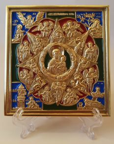 "icon of Mary ""Burning Bush"" enamelled brass."