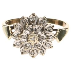 14 kt yellow gold rosette ring set with 19 diamonds, 0.085 ct in total