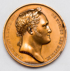 Russian Empire - Copper-plated Medal 1814 by Andrieu on the visit to Paris