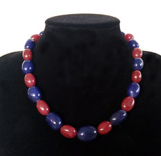 Ruby and polished sapphire necklace - 460 ct