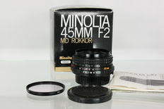Rare Minolta 45 mm f2 MD Pancake Rokkor - bright lens for Minolta MD
