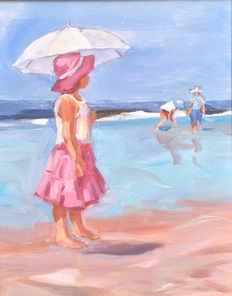 Unknown - girl with parasol on the beach