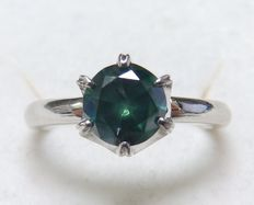 Solitaire with natural diamond, IGE certificate, brilliant cut green 0.99 ct.