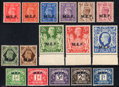 British Occupation of Former Italian Colonies – M.E.F. 1942-47 (London) + Postage Due – Complete series.
