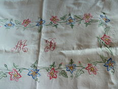 Beautiful old rectangular tablecloth - heavy white cotton embroidered by hand and monogrammed MD - trousseau item
