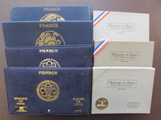 France- coins of Paris. Lot of 7 box sets, FDC 1971/1979.