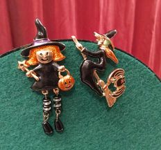 Monet -  vintage Halloween enamel gold tone brooches