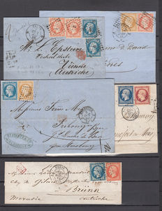 Francia – Napoleon III. Set with 5 letters with combined postages.