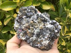 Tetrahedrite with Pyrite and Calcite  -  ca. 10 x 8 x 4 cm -  501 gm