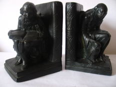 Set bookends in the form of man and woman with owl