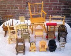 A lot consists of fourteen miniature chairs