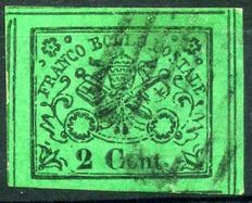 Papal States - 1867 - 2nd issue -  2 cent, yellow-green - Sassone # 13