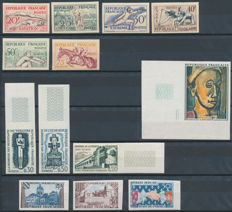 France 1953/1971 - Selection  between Yvert 960 and 1673 / Imperforated