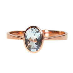 Aquamarine, Pink Gold Ring