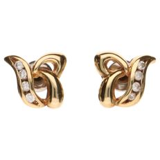Yellow gold stud earrings, 14 kt, set with 4 white cubic zirconias – 1.2 cm