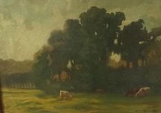 Eugene Kárpáthy (1870-1950) - Cows on the field