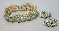 Signed CORO  - Demi Parure -  Light blue Aurora Borealis rhinestone bracelet and earring set